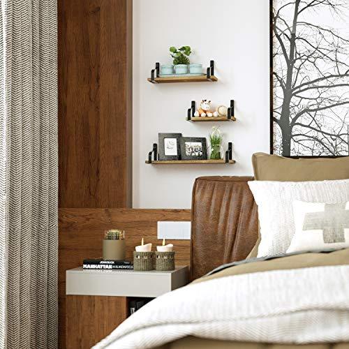 Love-KANKEI Floating Shelves Wall Mounted Set of 3, Rustic Wood Wall Storage Shelves for Bedroom, Living Room, Bathroom… 2