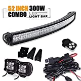 "52"" 300W Spot Flood Combo Offroad Curved Led Light Bar W/ 4In Pods Cube Led Fog Driving Lamp On Roof Top Front Bumper Grill Windshield For Jeep Wrangler Ford Truck Polaris RZR Boat Tacoma Dodge Ram"
