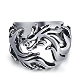 Dixinla Rings Steel , Mens Metal Punk Rock Style Stylish Domineering Pierced Titanium Steel Dragon Ring Jewelry Gift for Family or Friends