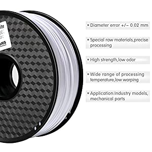 3D Filament ABS-1KG 1.75mm ABS 3D Printer Filament Dimensional Accuracy +/- 0.02 mm 1KG Spool White Filament for 3D Printing from Silver 3D