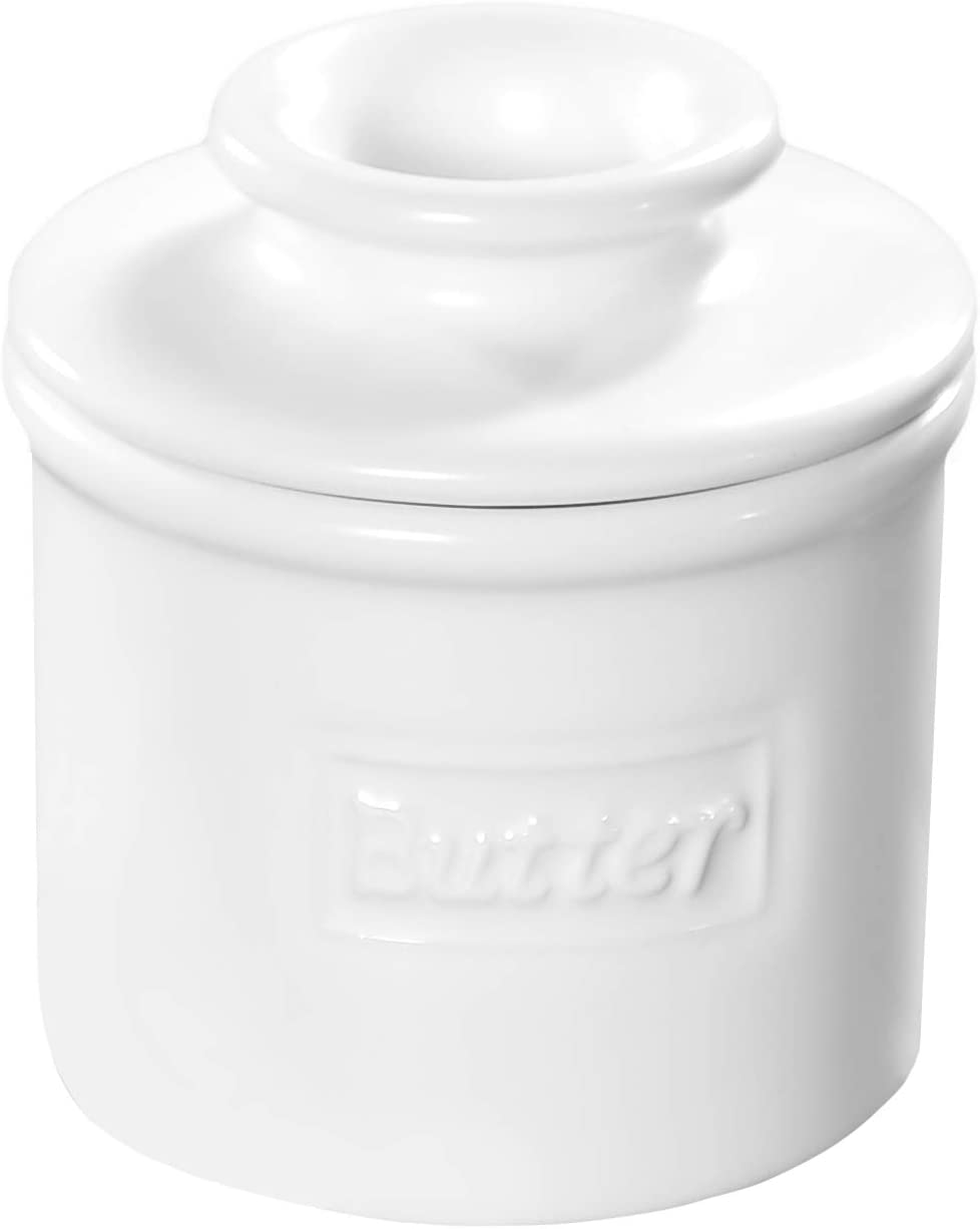 Butter Bell - The Original Butter Bell Crock by L. Tremain, French Ceramic Butter Dish, Café Matte Collection, White