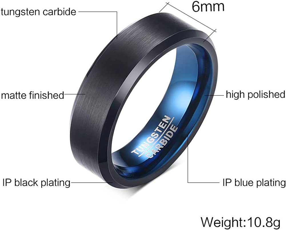 Size 4 to 13 6MM, 8MM Blue IP Titanium Etched Design Dome Engraved Ring