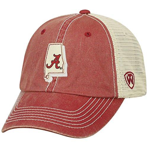 Top of the World NCAA Alabama Crimson Tide Men's Elite Fan Shop Off Road Mesh Back Hat, Cardinal