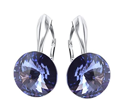 3c8c5a91d ... Glow - RIVOLI - Chossing Colour - 925 Sterling Silver Ladies Leverback Earrings  Crystals Swarovski Elements Sheer elegance/GB (Tanzanite): Amazon.co.uk: ...