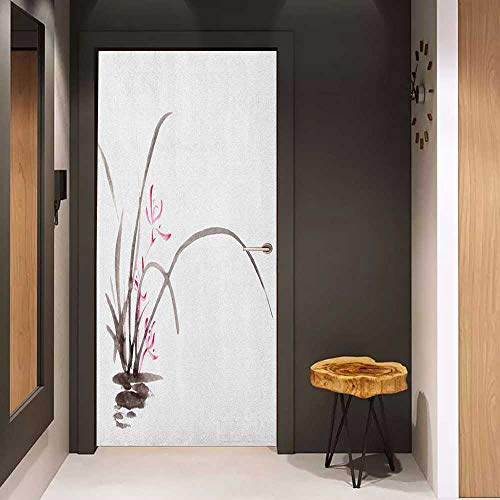 Automatic Door Sticker Art Traditional Ink Orchid Flower Drawing Oriental Chinese Effects Spiritual Theme Easy-to-Clean, Durable W31 x H79 Charcoal Grey Pink