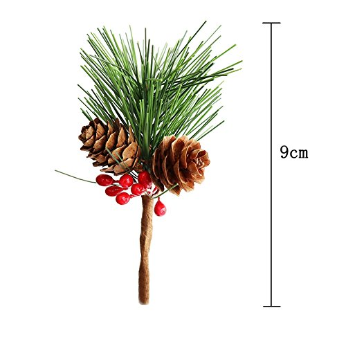 Htmeing Small Artificial Pine Picks for Christmas Flower Arrangements Wreaths and Holiday Decorations 10 pcs