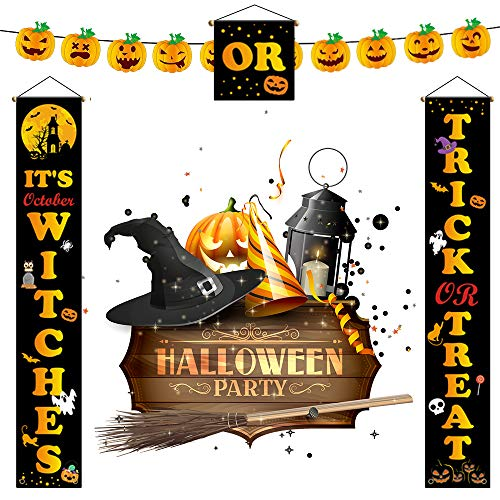 Top-Newest Halloween Decoration Couplet Banner Hanging Signs kits for Door Porch Wall Pumpkin Witches Ghost Decor