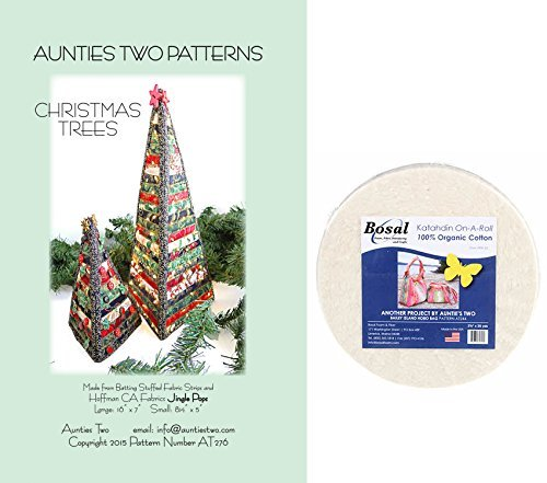Christmas Trees Kit ~ Craft Sewing Pattern and Bosal Katahdin 100% Cotton Summer Batting 3oz 2-1/2in x 25yds