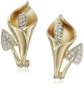 10K Yellow Gold Calla Lily Diamond Earrings (1/10 cttw, I-J Color, I2-I3 Clarity)