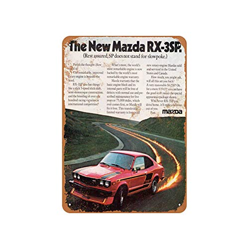Fhdang Decor Vintage Pattern 1977 Mazda RX-3SP Vintage Look Aluminum Sign Metal Sign,12x18 Inches