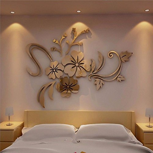 Woaills Approx 40 x 60cm 3D Acrylic Mirror Floral Art Removable Furniture Stickers Alloy Europe Paintings (Gold)