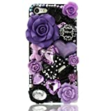 NOVA CASE ® Glamour Series 3D Bling Crystal iPhone Case for iPhone 5 - Purple Fairy Tale (Package includes: soft pouch, screen protector, extra crystals)