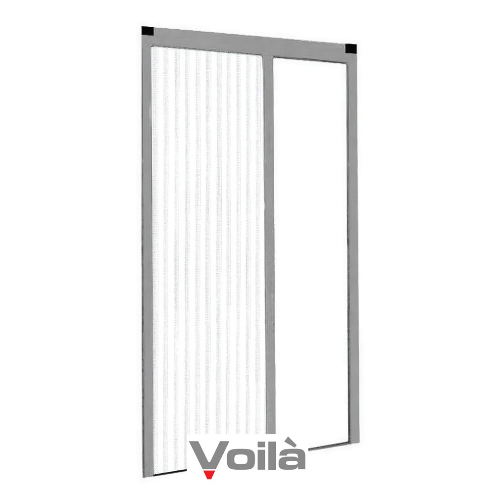 Voilà Universal Mosquito Net Plissè for Doors reducible Grey 150 x 250 cm