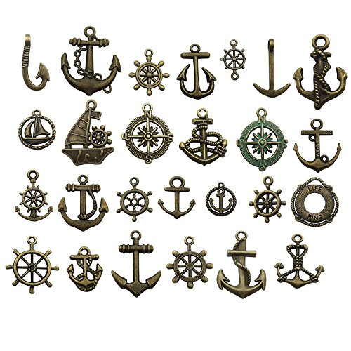 Nautical Charm Collection-50 Pcs Craft Supplies Nautical Ship Wheel Anchor Charms Pendants for Crafting, Jewelry Findings Making Accessory For DIY Necklace Bracelet (Antique Bronze Nautical Charm)