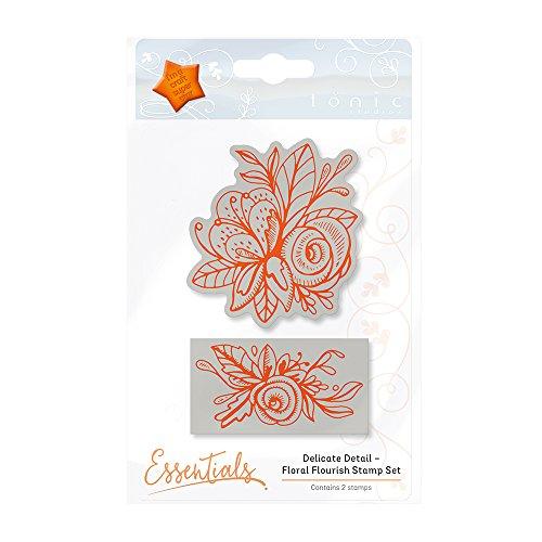 TONIC STUDIOS Delicate Detail-Floral Flourish Stamp Set, Rubber, Orange, 6.4 x 7 x 1 cm ()
