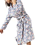 Femaroly Autumn Winter Long Bath Robe for Womens Soft Flannel Bathrobes Night Robes Dressing Gown Blue - Rabbit S