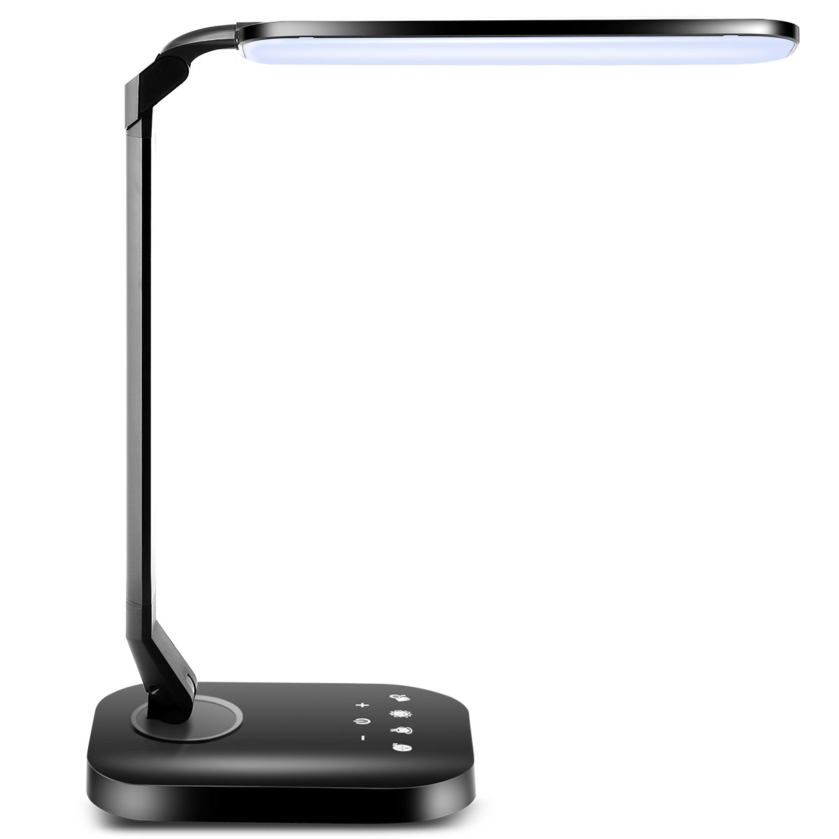 TomCare LED Desk Lamp with USB Charging Port 15W Dimmable Desk Lamp Flexible Table Lamps Office Lamp Reading Lamp 4 Lighting Modes 5-Level Brightness Touch Control Memory Function for Office Home