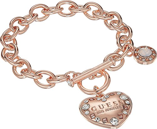 Crystal Heart Toggle (GUESS Womens Logo Heart Toggle Bracelet Rose Gold/Crystal 1 7 1/2 in One Size)