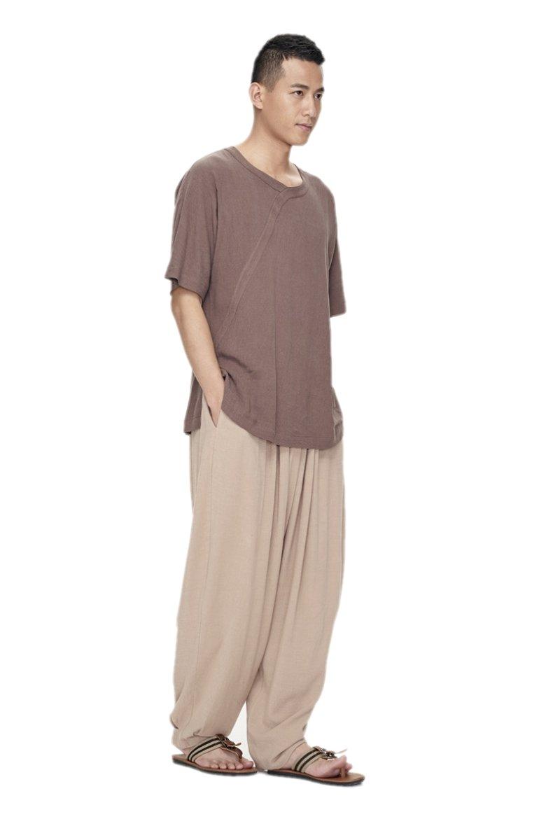 ZanYing Men Yoga Taichi Loose Pants Summer Casual Meditation Pants (M, Light Brown)