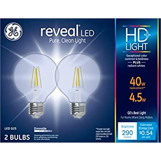 GE Lighting Reveal HD+ 40W Replacement LED Light Bulbs, 2-Pack, Clear, Decorative, Globe, Dimmable LED Light Bulbs, Medium Base, G25