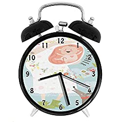 Baby Shower, Happy Mother Quote with Pregnant Woman and Heart Shaped Flowers Pattern Cartoon, Multicolor Twin Bell Alarm Clock with Backlight,Desk Table Clock for Home and Office 4in - Black