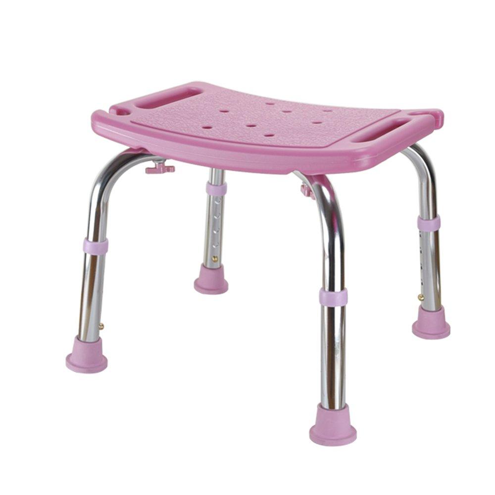 バスルームバスチェア/高さ調節可能/アルミ合金製ブラケット/高齢者シャワースツール/バススツール/ピンク、ブルー (色 : ピンク ぴんく) B07DVN2GMZ  ピンク ぴんく