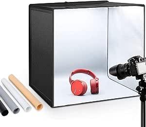ESDDI Estudio fotográfico portátil 50x50x50cm con asa y luz Regulable de 120 LED para fotografía con 4 Fondos de Colores: Amazon.es: Electrónica