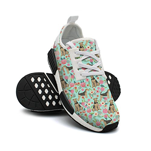 Womens Shoes Lightweight Breathable Cute FAAERD Sneakers Airedale with Sneakers Colorful Mesh Dogs Fashion Terrier Florals fqwFxOw