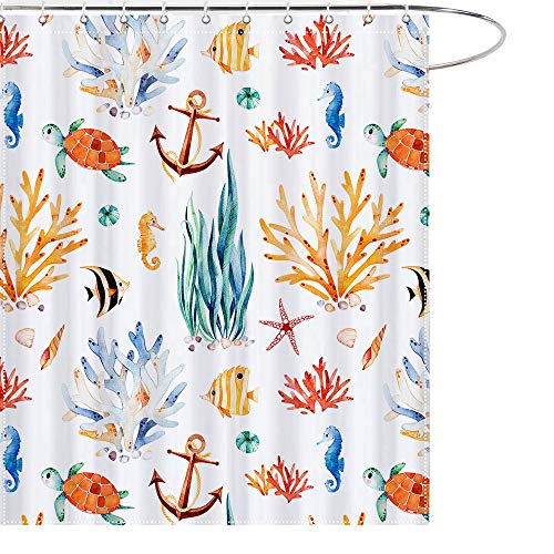 MAEZAP Summer Ocean Seashell Shower Curtain Underwater World Sea Bathroom Decor Waterproof Polyester with Hooks 69x70 Inchs ()