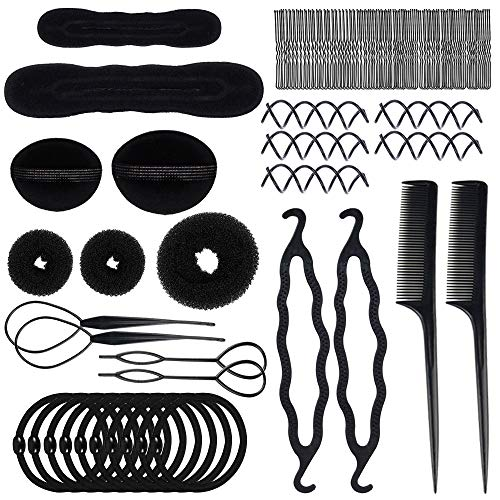 70 PACK Hair Styling Accessories Kit Set,Sonku Magic Bun Maker Hair Braid Tool for DIY Clip Curler Roller Twist for Girls and Women (Elegant Hairstyles For Long Hair Step By Step)