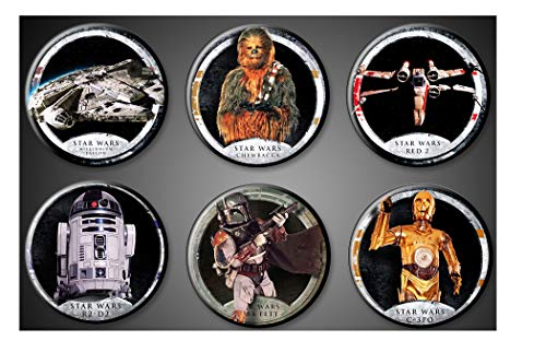 (Original Star Wars Magnets Fridge Set of 6 1 inch round Chewie Chewbacca Wookiee R2-D2 C-3PO Millenium Falcon Boba Fett Bounty Hunter Red 2 Fighter Plane )