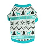 AIMTOPPY Christmas Dog Clothes Santa Doggy Costumes Printed Snow Fawn Interlock Christmas Pet Shirt (L)