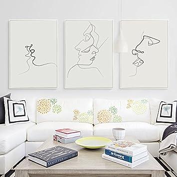 Hygg Picasso Einfache Linie Kurve Schwarz Weiß Abstrakt Leinwand