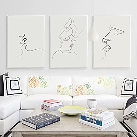 hy gg kiss picasso simple line curve black white abstract canvas