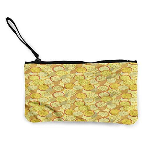 - Cash Bag 1950s Yellow and Brown,Citrus Fruit Lemon W8.5