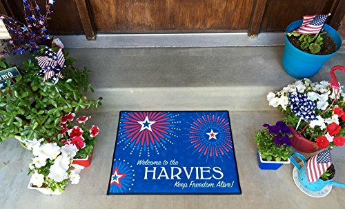 Name Door Mat - Qualtry Personalized Door Mats with Name - Colorful Outdoor Door Mats for Front Door, Beach Welcome Mat (Medium Size, Harvie Design)