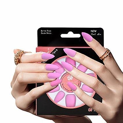 Zanteca - Adhesivo para uñas postizas de color liso mate, 28 unidades