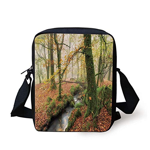 Woodland Decor,Misty Autumn Woodland and Stream at Golitha Falls on Bodmin Moor in Cornwall Decorative, Print Kids Crossbody Messenger Bag Purse