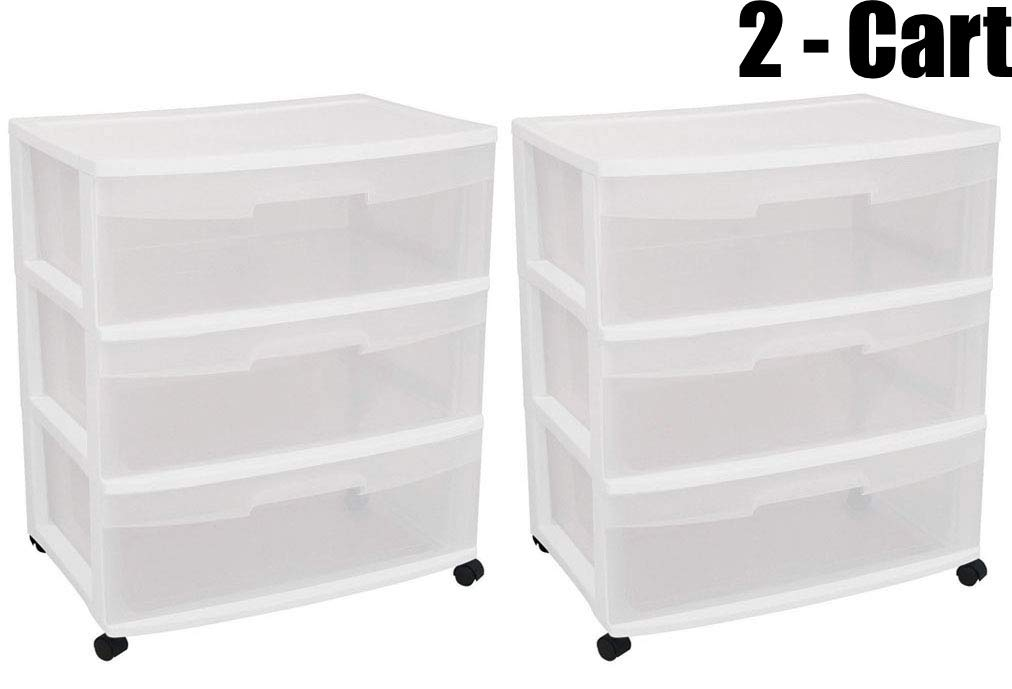 STERILITE Wide 3 Drawer Cart, White Frame with Clear Drawers and Black Casters, 2-Cart