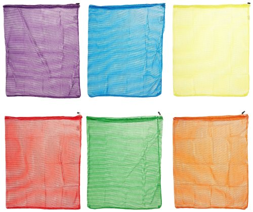 Sportime Mesh Drawstring Storage Bags - 24 x 34 inches - Set of 6 - Assorted Colors ()