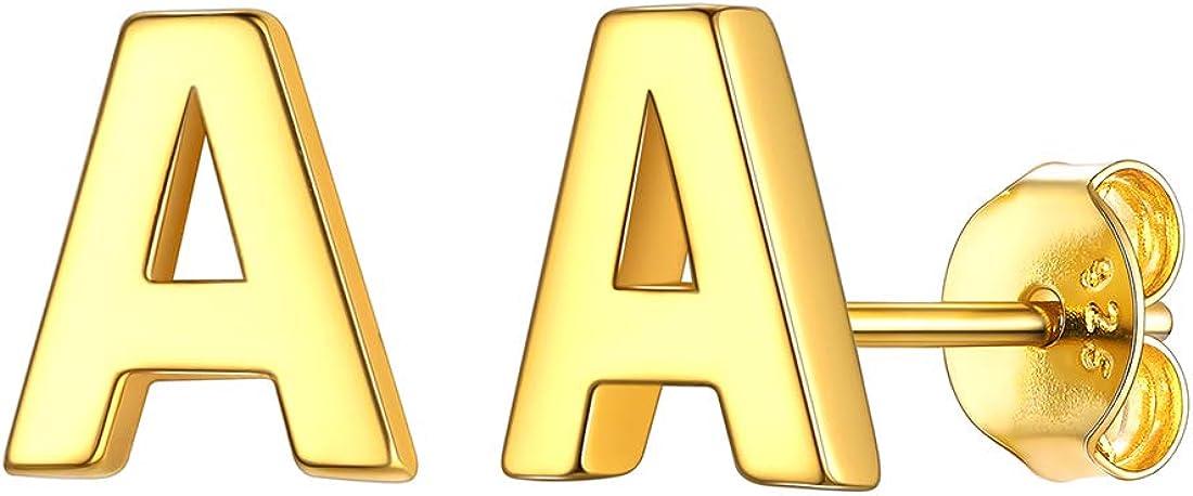 PROSTEEL Boucle dOreille Clou en Acier Inoxydable avec Lettres Initiales pour Homme Femme Alphabet Stud Earrings