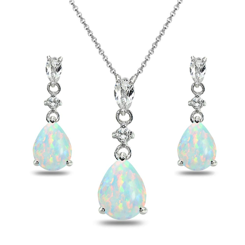 Sterling Silver Simulated White Opal & Topaz Pear-Cut Teardrop Dangling Stud Earrings & Necklace Set