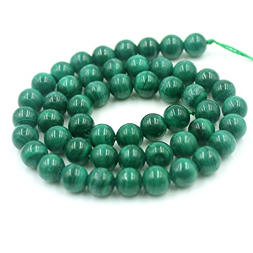 "SR BGSJ Wholesale Lot Jewelry Making Natural 8mm Round Loose Gemstone Craft Beads Strand 15"" (Malachite)"