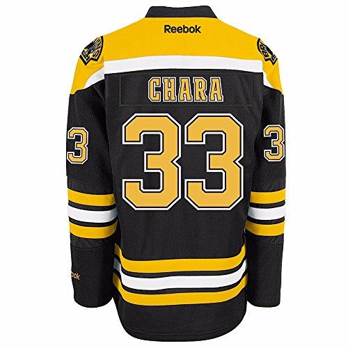NHL Men's Boston Bruins #33 Zdeno Chara Reebok Edge Premier Player Jersey (Black, Small)
