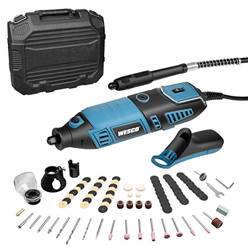 WESCO Rotary Tool Kit, Extend Shaft, Keyless Chunk, 35000RPM, 7 Variable Speed, 82 Accessories, Rotary Multi-Tool for Cutting, Carving, Engraving, Polishing, and Detail Sanding DIY Project/WS3113KU.1.