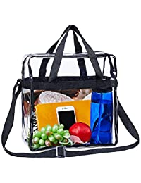 """Clear Tote Bag,NCAA NFL&PGA Stadium Approved Clear Bag with Adjustable Shoulder Strap and Double Zippered,Perfect for Work, School, Sports Games and Concerts -12""""X12""""X6"""""""