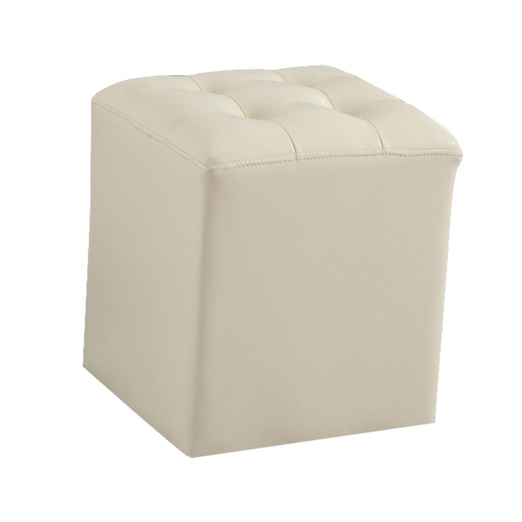 Leather low stool ottoman pouffe upholstered footstool cube footrest household living room bedroom change shoes small chair dressing vanity stool beige