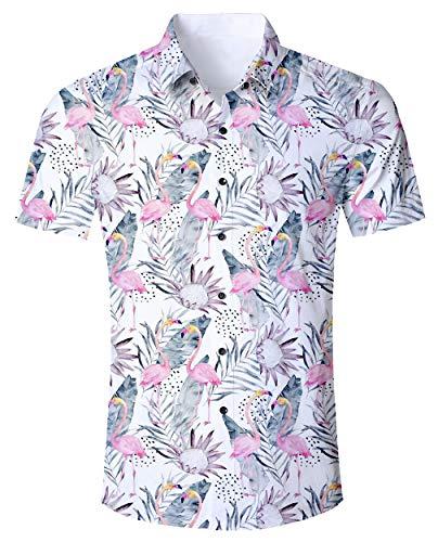 Flamingo Shirt Hawaiian Tropical Shirts for Men 3D Print Flower Leaf Pattern Summer Beach Aloha Shirt Luau Tops Men's Short Sleeve Button Down Cool Crazy Retro Shirts Vintage Vacation Clothes - Pattern Mens Flower