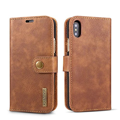 iPhone X Case,DG.MING Genuine Cowhide Leather Wallet Cases for iPhone X/iphone10 Magnetic Detachable Card Slots Phone Folio Flip Back Cover (Brown) by DG.MING