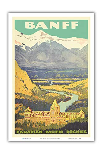 Pacifica Island Art - Banff, Canada - Rockies - Canadian Pacific Railway - Vintage Railroad Travel Poster c.1925 - Master Art Print - 12in x 18in ()